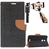 DMG Diary PU Leather Flip Cover Wallet Stand Case for Coolpad Note 3 Lite (Brown) + Selfie Stick Monopod with Aux (No Battery Needed)