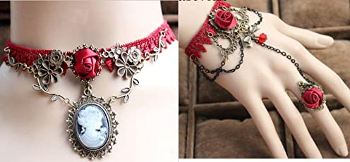 Artifice Exaggerate Ethnic Collares Vintage elegant temperament deserve Lace choker & Drop Lace Arm Bracelet Red