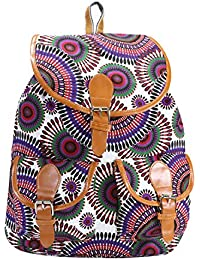 DESENCE Women & Girls Stylish Backpack/Bagpack Bags For College/School/Travel -Canvas Stylish Printed- 10 Liters