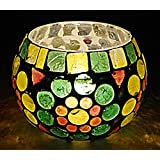 Indian Hand Painted Glass Diya Tea Light Candle Holder 3 Inches