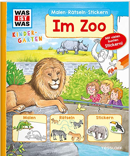 WAS IST WAS Kindergarten Malen Rätseln Stickern Im Zoo: Malen, Rätseln, Stickern