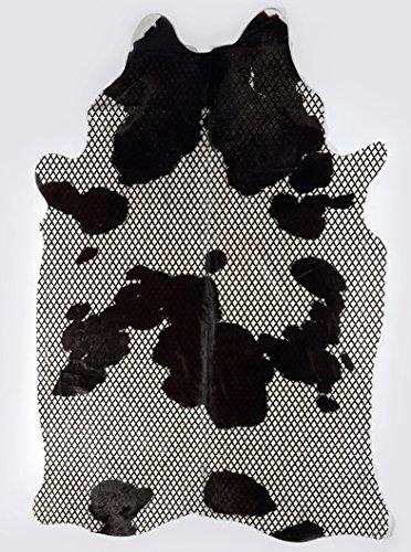 Schwarze Lange Gaucho (Rindsleder Gaucho Schwarz & Weiß mit Diamant-schwarzer Linie)