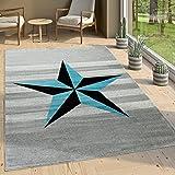 Paco Home Designer Kurzflor Teppich Modern Streifen Stern Motiv In Grau Blau, Grösse:120x170 cm
