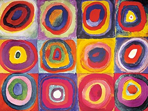 Wassily Kandinsky - Studio sul Colore, Quadrati con Cerchi Concentrici, 1913, 2 Parti Poster Carta da Parati Fotomurale (240 x 180cm)