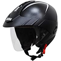 Steelbird SB-33 ARM 7Wings Open Face Helmet with Peak Cap (Medium 580 MM, Dashing Black with Clear Visor)
