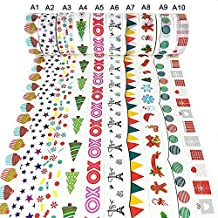 10 Rolls Da.Wa Dekorative Washi Tape Sortiment von Weihnachten Urlaub Designs & Formen für Scrapbooking Handwerk & Geschenke - Weihnachten