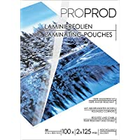 PROPROD Premium Pack de 100 Pochettes de plastification A4 125 microns finition brillante Transparent
