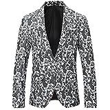 Herren Modern Slim Fit Business Casual Blumenmuster Anzug Jacke Blazer (16 Weiß,S)