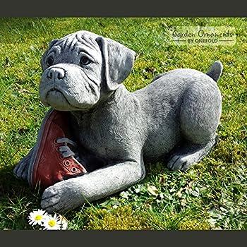Gentil Garden Ornaments By Onefold DO2 Boxer Puppy Stone, Grey, 39x17x23 Cm