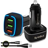 SpinBot ChargeUp 3 Ports 30W Quick Charge 3.0 Fast Car Charger + Braided Micro USB Cable  Black
