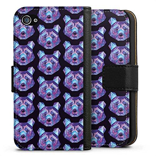 Apple iPhone X Silikon Hülle Case Schutzhülle Bär Weltall Muster Sideflip Tasche schwarz