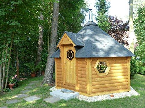 JUNIT SKF09201 9,2 m2 Saunakota ohne Vorraum mit großem Saunaraum, ohne Sauna-Ofen Fichte für ca. 8 Personen
