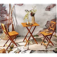 SAM 3-tlg. Sitzgruppe Xenia, Natur, 1x Tisch 60x60 cm + 2X Klappstuhl, Balkon-Set aus Akazien-Holz