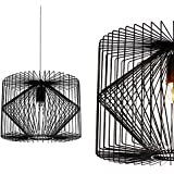 [lux.pro] Deckenleuchte Schwarz Metall Pendelleuchte Gitter Esszimmer Deckenlampe Vintage Retro Hängeleuchte Lampe LED Wohnzimmer