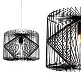 lux.pro] Deckenleuchte Schwarz Metall Pendelleuchte Gitter Esszimmer Deckenlampe Vintage Retro Hängeleuchte Lampe LED Wohnzimmer