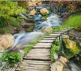 Mbwlkj Benutzerdefinierte Wandbild Holzbrücke Wasserfall 3D Bodenbelag Tapete Wohnzimmer Pvc Wasserdicht Selbstklebende 3D-Bodenbelag-250cmx175cm