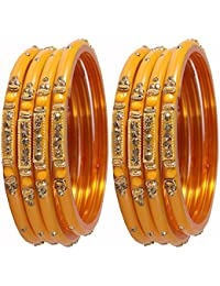 Beautiful & Stylish Design Glass Bangles Studded With Zircon & Beads For Girls & Women On Different Occasions...