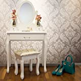 JASMINE WHITE DRESSING TABLE SET WITH ADJUSTABLE OVAL MIRROR AND STOOL, BEDROOM MAKE UP FURNITURE