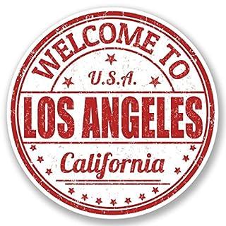 DestinationVinyl 2 x 10cm/100mm Los Angeles Kalifornien USA Vinyl Selbstklebende Sticker Aufkleber Laptop Reisen Gepäckwagen Cool Zeichen Spaß #5217