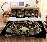 New York 3d Black Skull 78-Kissenbezüge, Quilt Bettbezug-Set mit König Königin | 3d-Bettwäsche, AJ Tapete mit 7