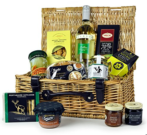THE LUDLOW FOOD HAMPER - quality hamper with tasty treats and white wine. Food Hampers by Web Hampers.