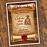 Geburtstagsurkunde 30 40 50 60 Club der alten Säcke Bild Geschenk Urkunde Geburtstag personalisiert Fest Alter Sack