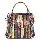 Zongsi Mode Damen Mehrfarbig Lack Leder Groß Umhängetasche Handtaschen Bunt Schultertasche Tote Tasche