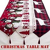 Ansenesna Tischläufer Weihnachten 180x35cm Rechteckig Leinen Tischdecke Weihnachtlich Ornament Für Festlich Party (A)