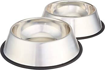 Pets Empire Stainless Steel Dog Bowl (Medium, Set of 2)