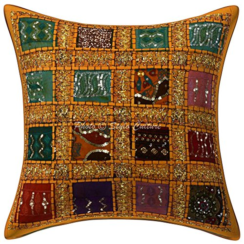 Stylo Culture Cotton Jaipuri Cushion Covers 16x16 Home Decor Mango Yellow Sequins Embroidered Sofa Couch Pillow Covers 16x16 Patchwork Living Room Cushions Shams Throw Pillowcases