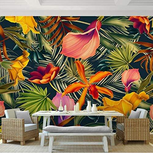 ZAMLE Fototapete Tropischer Regenwald Pflanze Blumen Bananenblätter Kulisse gemalt Wohnzimmer Schlafzimmer großes Wandbild Wandpapier, 350x245 cm (137.8 by 96.5 in) -