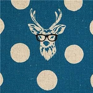Tissu Echino enduit laminé bleu Buck avec un cerf à lunettes (par 0,5 m multiples)