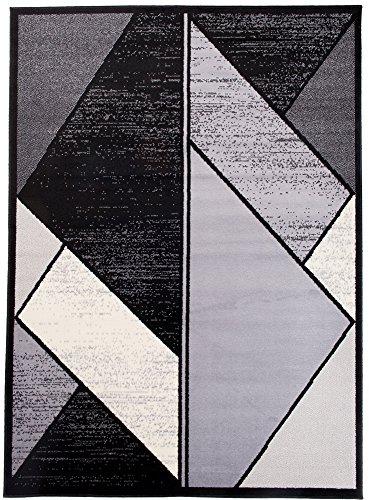 Designer Classics-kollektion (Tapiso Scarlet Teppich Kurzflor Meliert Modern Teppiche mit Designer Dreieck Muster in Schwarz Weiss Grau Ideal für Wohnzimmer, Schlafzimmer ÖKOTEX 80 x 150 cm)