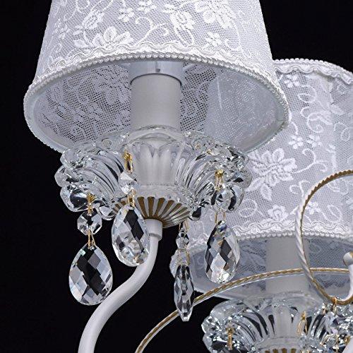 Eleganter Kronleuchter Metall weiße Stoffschirme 5 flammig Kristall klar - 8