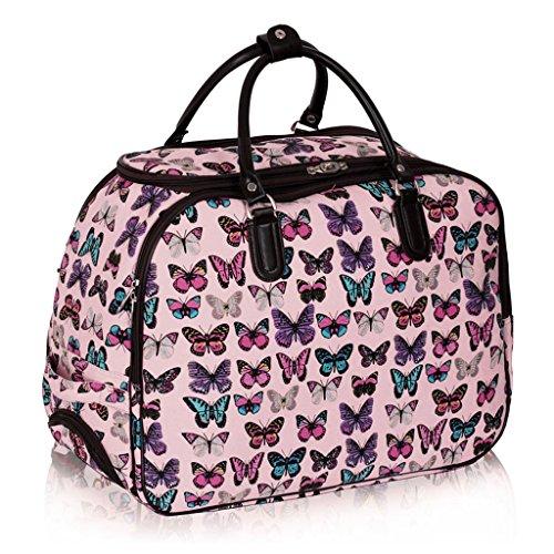 TrendStar Damen Reisetasche Taschen Handgepäck Frauen Schmetterling Wochenende rollig Handtasche B - Nude