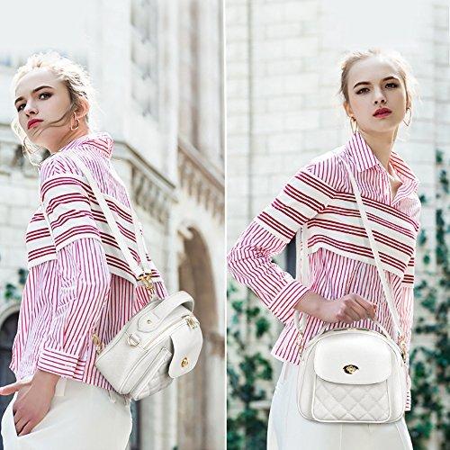 Elegante Plaid Mini in pelle Borse a tracolla della borsa dello zaino delle donne S-ZONE white