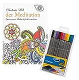 Idena 10123821 - Malbuch für Erwachsene, Motiv Meditation, inklusive 10 Fineliner