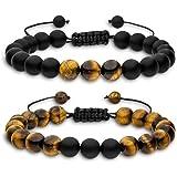 Aura Design Bracciale di perle da uomo – Bracciale in perle naturali (perle da 8 mm) + [19,5 cm di circonferenza]