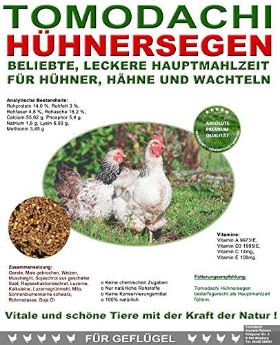 Hühnerfutter, Naturprodukt, hochwertiges Vollwertfutter für Geflügel, calziumreiche Komplettnahrung für alle Hühnerrassen, reich an Omega-3 Fettsäuren, natürlicher Immunschutz, Qualitäts Körnermischung für glückliche Hühner und Hähne, Tomodachi Hühnersegen 10kg Sack