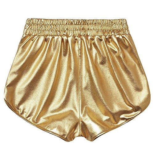 horts Shorts Damen Sommer Shiny Hotpants Metallic Locker Hohe Taille Yoga Sport Shorts Einfarbige Tasche Leder Shorts Hose Sommerhosen Pants Kurz Hosen Leggings ()