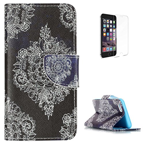 KaseHom Compatible for iPhone 6 Plus/6S Plus Zoll PU Leder Hülle (Mit Frei Displayschutzfolie) Stand-Funktion Magnetischer Flip [Mit steckplätzen] Stoßfest Abdeckung Schale Fall Halfter-Lace Mandala - 6-zoll-sexy High Heels