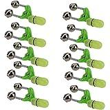 sevenjuly Ängel klocka bettindikator klämma glödande dubbla klockor lätta rörliga tillbehör för natt hav fiskeredskap grön 10