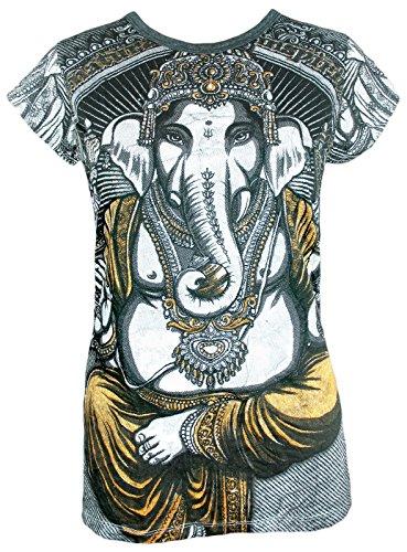 Weed Damen T-Shirt - Ganesha Der Elefantengott Größe S M L Hinduismus Goa Party Buddha Yoga Sommer (Weiß M)