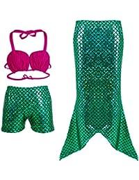 Bigood Traje de Baño Niña Forma de Sirena Disfraz de Princesa
