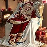 Father Christmas Coperta in Pile Decorativa per Divano e Letto, Motivo: Babbo Natale