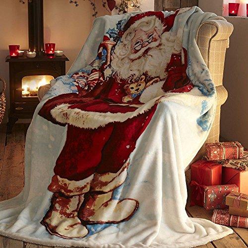 Babbo Natale Babbo Natale Babbo Natale decorativo, divano, letto coperta in pile raggio, Multicolore