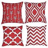 TIDWIACE® Lot de 4, Coton et Lin Couvre Oreillers Décoratifs carrés Rouge mis Housse de Coussin géométrique pour canapé, Chambre 18x18 Pouces 45x45 cm (Rouge-1)