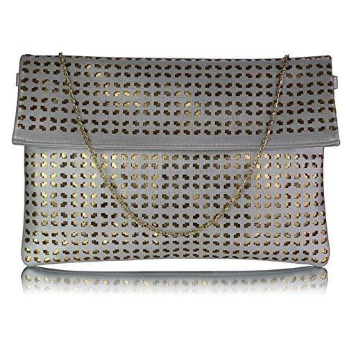 TrendStar Damen Large Clutch Taschen Umschlag Damen Abend-Handtasche Geldbörse Glitter Neue Partei-Tasche Silber