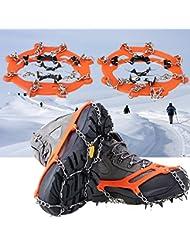 1 par de 8 dientes PE hielo nieve crampones cadena antideslizante bota zapato Fundas Spike cornamusas hielo garra para hacer senderismo escalada al aire libre caminando naranja