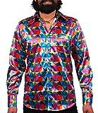 Comycom Knallbuntes 70er Jahre Grafik Hemd Glänzend, Mehrfarbig, 3XL